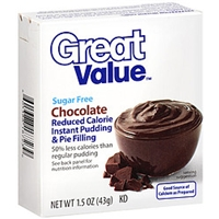 Great Value Pudding & Pie Filling Sugar Free Chocolate Reduced Calorie Instant Food Product Image