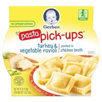 Gerber Graduates Pasta Pick-ups - Turkey & Vegetable Ravioli 6oz Food Product Image