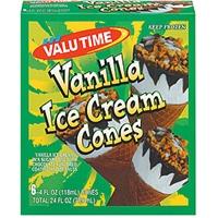 Valu Time Ice Cream Cones Vanilla 6 Ct Food Product Image
