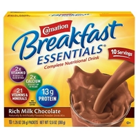 Carnation Breakfast Essentials Powder Drink Mix Rich Milk Chocolate 1.26 oz 10 count Food Product Image
