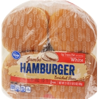 Kroger White Jumbo Hamburger Buns Food Product Image