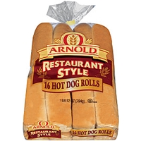 Buns & Rolls Arnold Hot Dog Rolls Restaurant Style 16 Ct Food Product Image