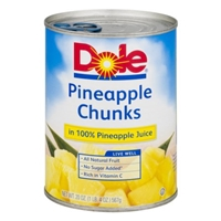Dole Pineapple Chunks in 100% Pineapple Juice Food Product Image