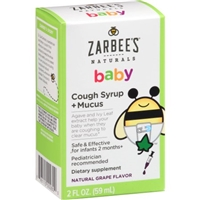 Zarbee's Naturals Baby Cough Syrup + Mucus Dietary Supplement Natural Grape Flavor Food Product Image