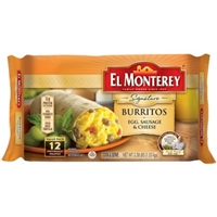 El Monterey Burritos Breakfast Supreme Egg Sausage & Cheese Burritos Food Product Image