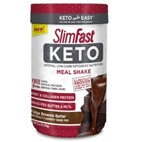 SlimFast Keto Meal Replacement Shake Powder, Fudge Brownie Batter, 11.01oz. Canister (10 Servings) Food Product Image