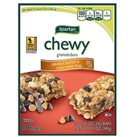Spartan Granola Bars Chewy, Peanut Butter & Chocolate Chip Food Product Image