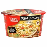Nissin Bowl Noodles Rich & Savory Chicken Noodle Soup Food Product Image
