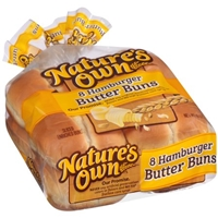Nature's Own Hamburger Buns Butter - 8 CT Food Product Image