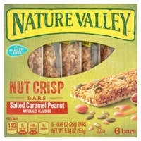 Nature Valley Nut Crisp Bars Salted Caramel Peanut Food Product Image