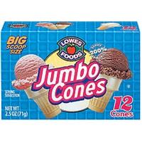 Lowes Foods Ice Cream Cones Jumbo 12 Ct Food Product Image