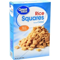 Great Value Rice Squares Cereal 12oz Food Product Image