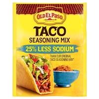 Old El Paso 25% Less Sodium Taco Seasoning 1 oz Food Product Image