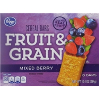 Kroger Fruit & Grain Cereal Bars - Mixed Berry Food Product Image