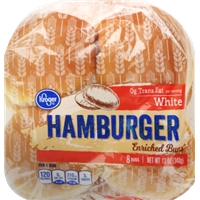 Kroger White Hamburger Buns Food Product Image