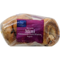 Kroger Mini Cinnamon Raisin Swirl Bagels Food Product Image