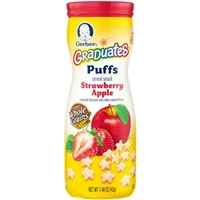 Gerber Graduates Puffs Cereal Snack Strawberry Apple Food Product Image