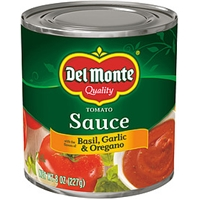 Del Monte Tomato Sauce With The Flavors Of Basil Garlic & Oregano Food Product Image