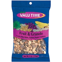 Valu Time Fruit & Granola Granola/Dates/Raisins/Soybeans/Peanuts/Cranberries Food Product Image