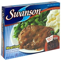 Swanson Meatloaf With Gravy, Mashed Potatoes, Green Beans & A Brownie Food Product Image