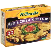 El Charrito Beef & Cheese Mini Tacos Frozen Dinner 22 ct Box Food Product Image