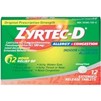Zyrtec-D Allergy + Congestion Extended Release Tablets - 12 CT Food Product Image
