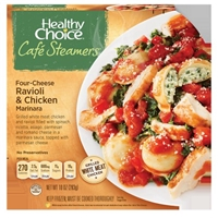 Healthy Choice Cafe Steamers Four-Cheese Ravioli & Chicken Marinara Food Product Image