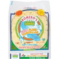 Romero's Flour Tortillas Soft Taco Size Jalapeno-Cilantro Food Product Image