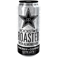Rockstar Roasted Caffe Latte with Almond Milk Energy + Coffee Drink Food Product Image