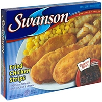 Swanson Fried Chicken Strips Fried Chicken Patties With French Fries, Corn & A Brownie Food Product Image