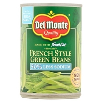 Del Monte French Style Green Beans 50% Less Sodium Food Product Image