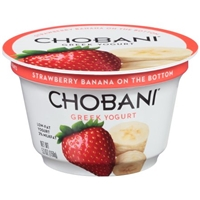Chobani Greek Low-Fat Yogurt Strawberry Banana On The Bottom Food Product Image