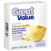 Great Value Pudding & Pie Filling Sugar Free French Vanilla Reduced Calorie Food Product Image