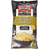 Boulder Canyon Natural Foods Sea Salt & Cracked Pepper Olive Oil Canyon Cut Kettle Cooked Potato Chips, 7.5 oz Food Product Image