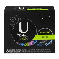 U Kotex Super Unscented Plastic Tampons - 18 Ct Food Product Image