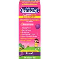 Children's Benadryl Allergy Plus Congestion Liquid 4 Hours/Dose Grape Food Product Image