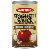 Valu Time Sauce Spaghetti, Mushrooms Food Product Image